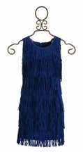 Elisa B Tween Fringe Dress in Blue