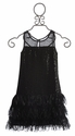 Elisa B Tween Fringe Dress in Shimmer Black