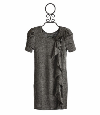 Elisa B Tween Grey Sheath Dress with Ruffles