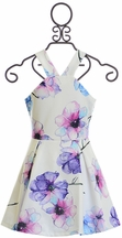 Elisa B White Dress with Purple Flowers (Size 8)
