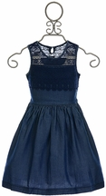 Ella Moss Crochet Dress for Girls Blue