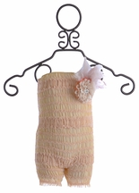 Enchanted Shimmer Infant Romper in Nude (Size 0-6 Mos)