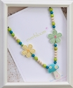 Everbloom Necklaces Girls Beaded Necklace with Blue Felt Mushroom