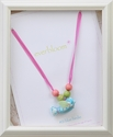 Everbloom Necklaces Pink Ribbon Necklace with Blue Birdie
