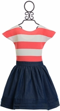 Five Loaves Two Fish Dress in Coral Stripe