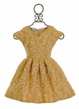 Five Loaves Two Fish Party Dress for Girls Gold Filigree