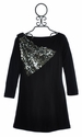 Five Loaves Two Fish Tween Black Dress with Silver Sequins