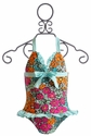Floatimini Floral Girls Swimsuit with Aqua Ruffles
