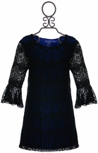 Flowers by Zoe Tween Lace Dress Black with Blue