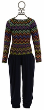 Flowers by Zoe Aztec Top with Ruched Leg Pant in Navy