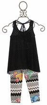 Flowers by Zoe Black Eyelet Tank Top with Leggings (Size MD 10)