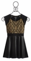 Flowers By Zoe Black Party Dress with Gold Print