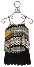 Flowers by Zoe Black Skirt with Zigzag Tank for Girls (LG 10/12 & XL 12/14)