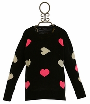 Flowers by Zoe Black Sweater with Hearts in Pink and White (Size LG 10/12)