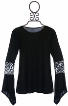 Flowers by Zoe Chic Black Lace Top for Tweens