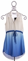 Flowers By Zoe Chiffon Dress for Tweens Blue Ombre (LG 10/12)