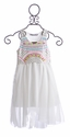 Flowers by Zoe Chiffon Dress Jeweled in White (Size 4 & LG 10/12)