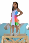 Flowers By Zoe Color Block Dress for Girls in Rainbow