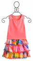 Flowers by Zoe Coral Top with Tie Dye Pom Pom Skirt