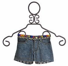 Flowers By Zoe Denim Shorts for Tween with Beaded Band (Size MD 10)