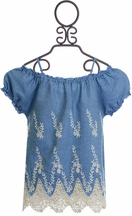 Flowers By Zoe Denim Top with Crochet
