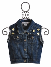 Flowers by Zoe Denim Vest with Daisies (Size LG 10/12)