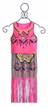 Flowers by Zoe Fringe Skirt and Neon Top for Tweens (Size XL 12/14)