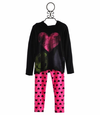 Flowers By Zoe Girls Black Hoodie with Heart Legging