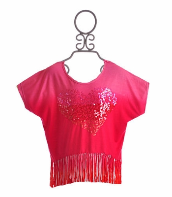 Flowers By Zoe Girls Fringe Top Sunset