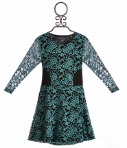 Flowers by Zoe Girls Special Occasion Lace Dress in Teal (SM 7/8 & LG 10/12)