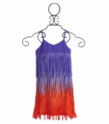 Flowers By Zoe Girls Summer Dress Fading Purple Fringe