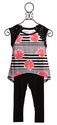 Flowers By Zoe Girls Summer Outfit in Black with Coral Flowers (LG 10/12 & XL 12/14)