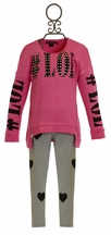 Flowers by Zoe Hashtag LOL Sweatshirt in Pink and Heart Legging (SM 7/8 & LG 10/12)