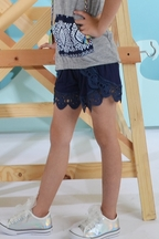 Flowers By Zoe Lace Shorts for Tweens in Navy (SM 7/8 & LG 10/12)