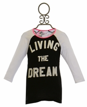 Flowers by Zoe Living the Dream Tee with Splatter Paint Back (Size LG 10/12)