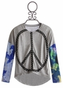 Flowers By Zoe Long Sleeve Tween Top with Peace Sign