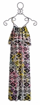 Flowers by Zoe Maxi Dress Aztec Print with Pom Poms (Size LG 10/12)
