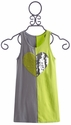 Flowers By Zoe Neon and Grey Color Block Girls Dress
