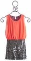 Flowers By Zoe Neon Orange Sequined Dress for Tweens