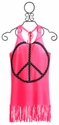 Flowers By Zoe Neon Pink Tween Fringe Dress Studded Peace
