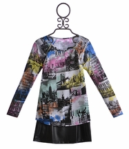 Flowers by Zoe New York Printed Shirt with Skirt (Size XL 12/14)
