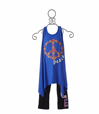 Flowers by Zoe Peace Flowers Tween Tunic with Black Pant
