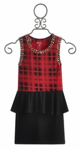 Flowers By Zoe Plaid Tween Dress with Peplum Skirt (Size MD 10)