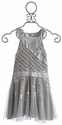Flowers By Zoe Radiant Beading Silver Tween Dress (Size MD 10)