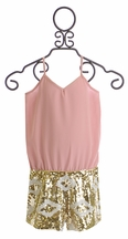 Flowers by Zoe Sequin Romper in Blush (Size XL 12/14)