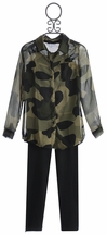 Flowers By Zoe Sheer Army Top and Legging Set for Tweens (Size MD 10)