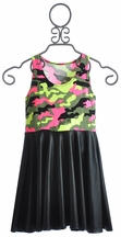 Flowers By Zoe Tween Dress in Camo and Pleather (4, SM 7/8, LG 10/12, XL 12/14)