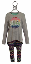 Flowers by Zoe Smile Tee Hi Lo with Aztec Legging (LG 10/12 & XL 12/14)