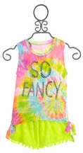 Flowers by Zoe So Fancy Tank Top with Neon Shorts (Size XL 12/14)
