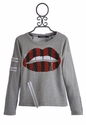 Flowers by Zoe Sparkle Sequin Lips Shirt in Red and Black